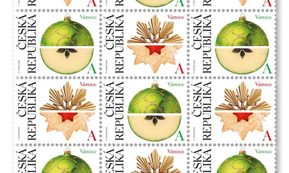 Vánoční poštovní známka se skleněnou ozdobou